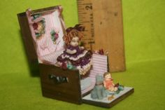 Tiny Micro Porcelain Bisque Doll Only 1 1 4 inch in 1inx1in Wood Trunki OOAK | eBay