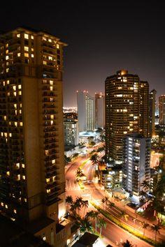 Beautiful Skyline of Honolulu, Hawaii at night! Honolulu Hawaii, Aloha Hawaii, Waikiki Beach, Hawaii Travel, Hawaii Usa, Top Honeymoon Destinations, Hawaii Honeymoon, Travel Destinations, Beautiful Places To Visit