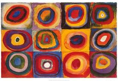 Color Study of Squares by Wassily Kandinsky Mini Puzzle. Wassily Kandinsky is credited with painting the first modern abstract works. Kandinsky For Kids, Kandinsky Art, Art Lessons For Kids, Art For Kids, Arte Elemental, Poster Xxl, Poster Print, Circle Painting, Kunst Poster