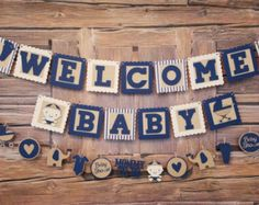 Welcome baby banner. Welcome baby sign. Baby boy by TinCakes