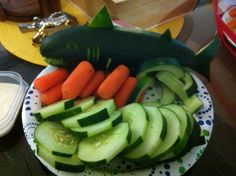 Shark party with c-cucumbers and a cucumber shark