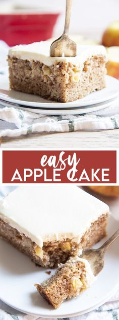 This easy apple cake has the perfect taste of fall, it's easy to make, moist, and every single bite is filled with the perfect apple cinnamon flavors. It is packed with fresh apples, applesauce, and is such a delicious cake to make in the fall.