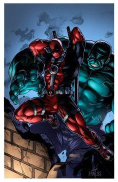 #Deadpool #Fan #Art. (Deadpool and Hulk) By:HeagSta. (THE * 5 * STÅR * ÅWARD * OF: * AW YEAH, IT'S MAJOR ÅWESOMENESS!!!™) [THANK U 4 PINNING!!!<·><]<©>ÅÅÅ+(OB4E)