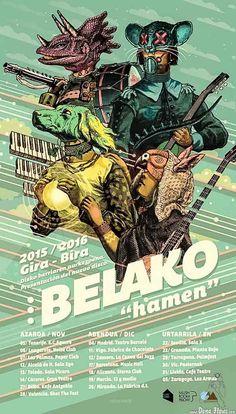 "Cartel de Belako por Iñaki González Elortz ""Fortun"", Kafe Antzokia, Bilbao.  Belako, Kafe Antzokia, Bilbao, 27/XI/2015. Foto por Dena Flows  http://denaflows.com/galerias-de-fotos-de-conciertos/b/belako/"