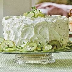 Key Lime Cake   //   Cake: 1 lemon cake mix 1 c oil 4 eggs 1 pkg lime flavored gelatin mix 3/4 c orange juice Mix all  bake according to box directions.  Key lime Frosting  1/2 c butter 1 pkg cream cheese 3 T fresh lime juice 1 T orange juice 4 c confectioners' sugar zest from one lime mostly for pretty
