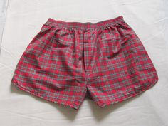 Unworn Vintage Men's Pajamas Shorts Red Tartan by OLaLaVintage