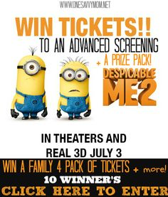 Despicable Me 2 #DM2 - Win a Family 4 Pack of Tickets To An Advanced Screening + A Prize Pack! [ 10 Winners ]