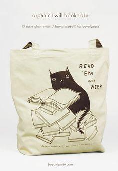 "This unique tote bag for book lovers is illustrated with cats, books, and a clever take on the expression ""read 'em and weep"" - Illustrated by Susie Ghahremani / boygirlparty® in collaboration with BuyOlympia. Source: http://shop.boygirlparty.com/products/read-em-and-weep-black-cat-book-tote?variant=10331553991"