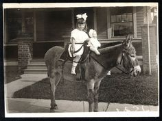 Antique photo of little girl riding a donkey with her doll dated 1910. Children Pictures, Vintage Children Photos, Antique Photos, Vintage Photographs, Vintage Photos, Farm Kids, Pony Rides, A Donkey, Pony Horse