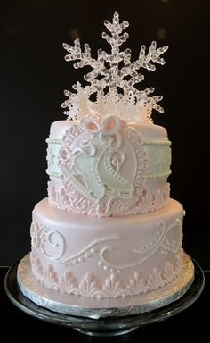 Ice Skating Princess Cake my winter weding cake Ice Skating Cake, Ice Skating Party, Skate Party, Beautiful Desserts, Beautiful Cakes, Birthday Parties, Birthday Cake, 8th Birthday, Decoration Evenementielle