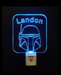 """#StarWars #BobaFett Custom LED Night Light Lamp - Unique LED Products 3D Engraved 3/8"""" Clear Acrylic, Various colored Light base colors#personalizedgift #LED"""