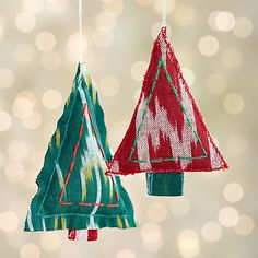Ikat Stitched Red Christmas Tree Ornament in Outlet Christmas Ornaments | Crate and Barrel