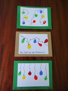 Homemade Christmas cards using fingerprints - lights - Karten Basteln - Acaba Family Christmas Cards, Christmas Card Crafts, Homemade Christmas Cards, Christmas Humor, Homemade Cards, Christmas Cards Handmade Kids, Christmas Lights, Christmas Card Ideas With Kids, Holiday Cards