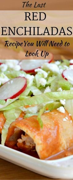 This Red Enchiladas Recipe is delicious - from the flavorful and smoky red enchilada sauce, to the creamy chicken filling, you won't need to look… Mexican Dishes, Mexican Food Recipes, Beef Recipes, Chicken Recipes, Cooking Recipes, Mexican Menu, Spanish Recipes, Tostadas, Gourmet