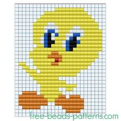 Baby Tweety Bird free perler beads Pyssla pixel art for children