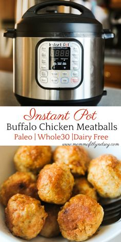 Healthy Instant Pot Buffalo Chicken Meatballs | Healthy Superbowl Snacks and Appetizers, Whole30 approved, Paleo Instant Pot Recipes, Easy Healthy Superbowl Snacks, Easy Healthy Instant Pot Recipes for the family #instantpot #superbowlsnacks #pressurecooker