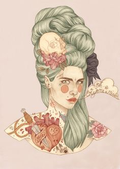 Marie Antoinette Tattoo Girl by Liz Clements Audrey Kawasaki, Marie Antoinette, Liz Clements, But Is It Art, Tattoo Illustration, Illustration Artists, Social Art, Polychromos, Design Graphique