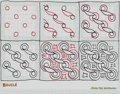 Bouclé-tangle pattern by molossus, who says Life Imitates Doodles, via Flickr