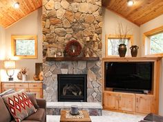 13ft Cultured Stone Gas Fireplace Rustic Alder Cabinetry Enclosure New Addition New Construction Family Room