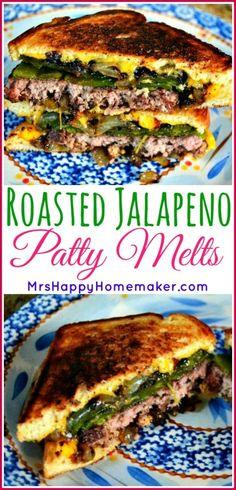 Roasted Jalapeño Patty Melts | MrsHappyHomemaker.com