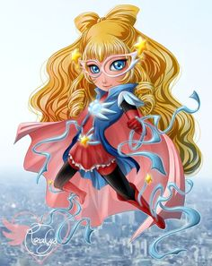 """Super hero"", Collection ""My cute love for Japan"" - Illustration from #rosalys at www.rosalys.net - work licensed under Creative Commons Attribution-Noncommercial - #superhero #originalart #illustration #digitalart #digitalpainting #digitaldrawing"