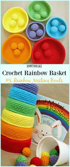 Rainbow Nesting Bowls Free Crochet Pattern - #Crochet Rainbow #Basket Free Patterns