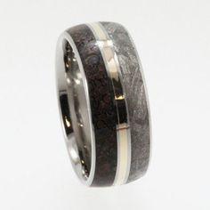 Meteorite Wedding Band Titanium Ring Meteorite by jewelrybyjohan