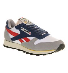 Reebok Cl Leather Flat Grey Excellent Red -
