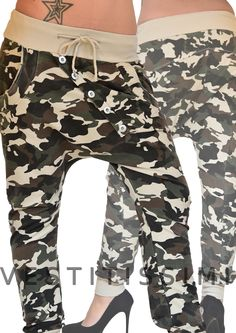 Pantalone donna sportivo fitness colore beige fantasia mimetico militare con laccio e fascia elastica in vita, chiusura a bottoni disposti in obliquo e tasche