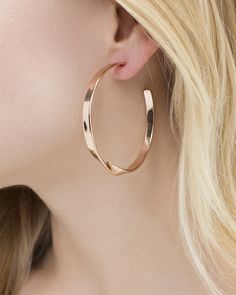 Twist of Fate Hoops by JewelMint.com, $17.99-that's the sale price. I love the rose gold, I wish they were about 1/2 inch 10 1' smaller.