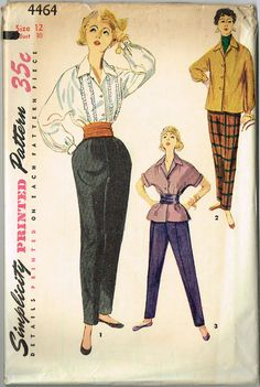 Simplicity Pattern 4464 Misses Blouse and Pants Pattern Charming Mid Design Dated 1954 Factory Folded and Unused Rare New Old Stock Pattern Nice Condition Overall Size 12 Bust) We Sell the Best Original Vintage Sewing Patterns and Embroidery Transfers! Vintage Dress Patterns, Vintage 1950s Dresses, Clothing Patterns, Shirt Patterns, Vintage Clothing, Retro Outfits, Vintage Outfits, 1950s Outfits, 1950s Fashion