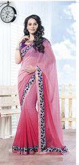Pearl pink colour #Georgette material #Designer #saree #saari