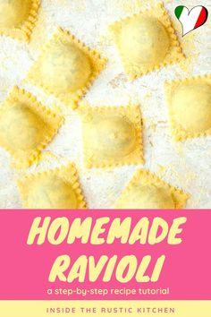 Homemade Pasta Dough, Homemade Ravioli, Italian Pasta Recipes Authentic, Italian Recipes, Butter Sauce For Pasta, How To Make Ravioli, Italian Tomato Sauce, Filled Pasta, Incredible Recipes