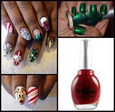 """Loving my holiday nails by @shes_erica! Holiday nails to spice up my Christmas w/ Superstar Nail Lacquer's """"Remember Me Red"""" & """"Gucci Green""""! #nails"""