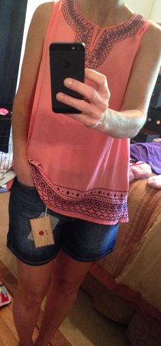 Papermoon Upland Embroidered Tunic in a pretty coral.