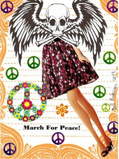 March For Peace! -                                                                       .    .   Older      Handmade collaged card that I made for a Postcrosser in Norway that has a mail art call for peace related art work.