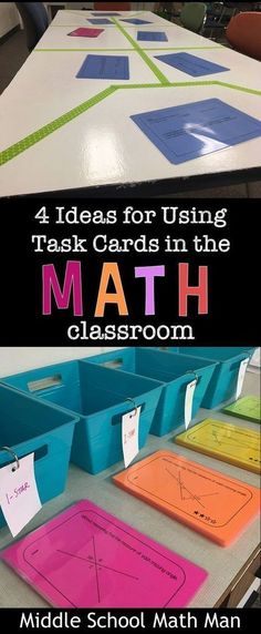 Math task cards in the middle school math classroom! Task cards are extremely helpful in a classroom when it comes to newly introduced topics and students need more practice with it. Middle School Classroom, Math Classroom, High School, Classroom Ideas, Middle School Crafts, Education Middle School, Classroom Projects, Primary Education, Classroom Resources