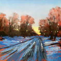 Snow on Parker Street by Bethany Fields Pastel ~ 5 x 5