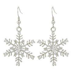 EVER FAITH Silver-Tone Austrian Crystal Christmas Winter Party Snowflake Hook Dangle Earrings Clear