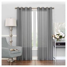 "Liberty Light Filtering Sheer Curtain Grey (52""x108"") Eclipse"
