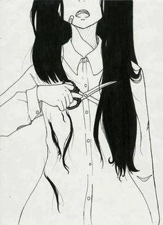 Imagen vía We Heart It #anime #art #black #scissors #white
