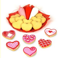 Yummy sugar Valentine's day cookies. Make your own cookie bouquet for that special someone, family and friends. Great for kids to decorate their own.