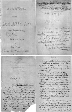 Mark Twains handwritten manuscript pages from the beginning of The Adventures of Huckleberry Finn.