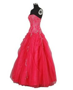 Bright hot pink beaded lovely ball gown formal dresses - Quinceanera ball gowns