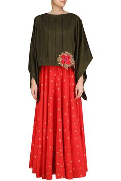 Red brocade long tunic with military green oversized top available only at Pernias Pop Up Shop.#Rishi&Soujit#ethnic#shopnow #ppus #happyshopping