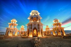 This is the main temple that lies on the 12 o'clock axis from the burning man himself. Every year it is different. It's always non-denominational, but it has hints of all the major religions… - Burning Man, Nevada - Photo from #treyratcliff Trey Ratcliff at http://www.StuckInCustoms.com