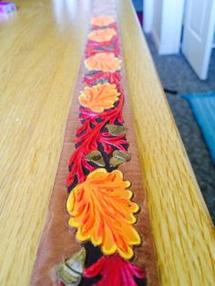 New fall painted belt Autumn Painting, Leather Tooling, Rodeo, Cubs, Belts, Passion, Fall, Jewelry, Fall Chalkboard