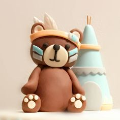 Fondant woodland tribal Cake Topper Set - Indian Native Bear with teepee cake baby shower Topper - Animal figure fondant Fondant Cake Toppers, Fondant Baby, Fondant Cupcakes, Cupcake Toppers, Cake Baby, Fondant Rose, Fondant Flowers, Dog Cake Topper, Fondant Figures Tutorial