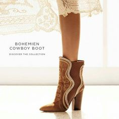 """""""The new Collection pays tribute to femininity and soft elegance with a modern, romantic version of the typical Seventies cowboy Sergio Rossi, Shoe Boots, Shoes, Suede Booties, Stuart Weitzman, Cowboy Boots, Feminine, Pairs, Booty"""