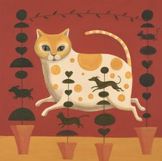 'Capering Cat' By Artists Catriona Hall.  Blank Art Cards By Green Pebble. www.greenpebble.co.uk